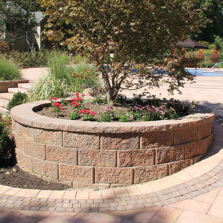 Trinity Retaining Wall shown in Charcoal/Buff.