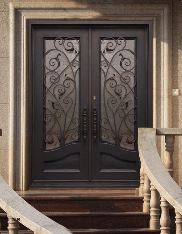 Wrought iron steel entry doors gallery kings building for Steel entry doors