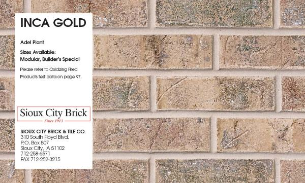 Inca Building Materials : Bricks by sioux city kings building material