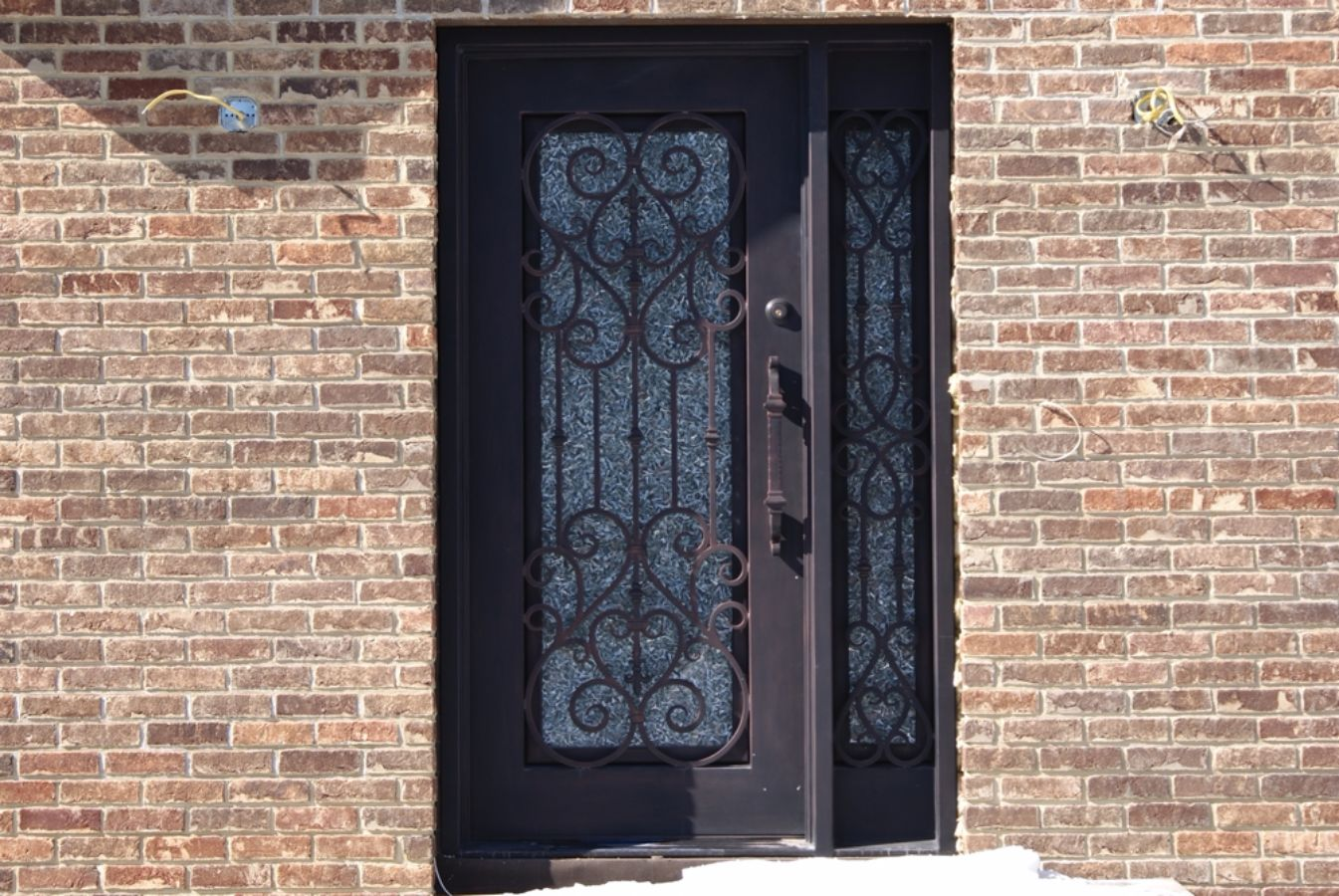 900 #8B6340 SH 09 Wrought Iron Door With Sidelight pic Metal Entry Doors With Sidelights 39211345