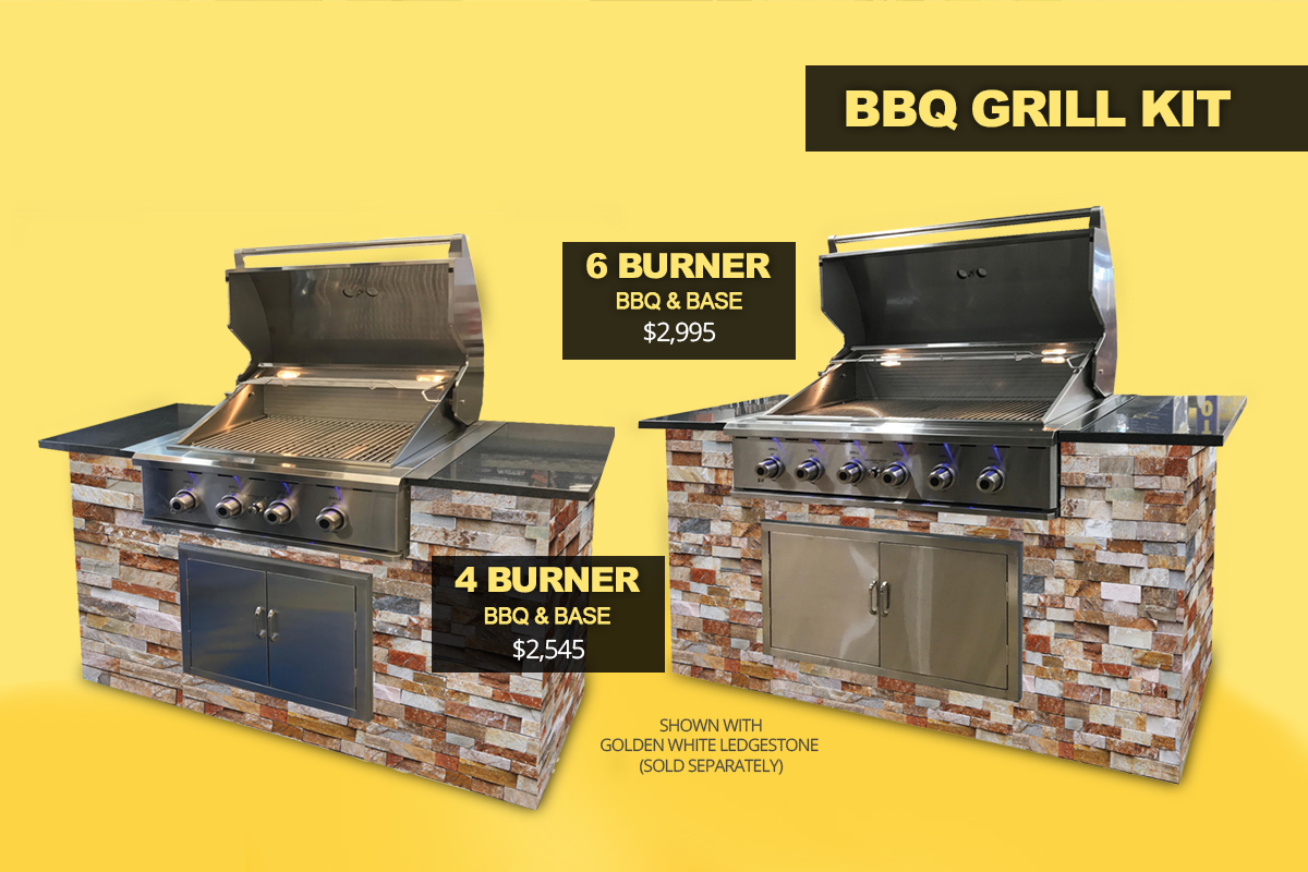 4 and 6 Burner BBQ grill kits