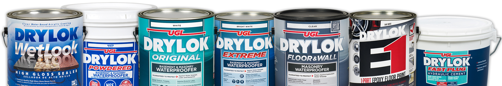 A collage of drylok products