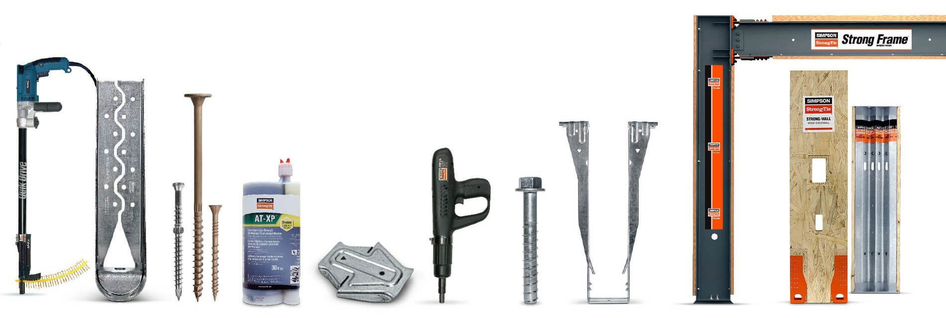 strong-tie assortment of tools and fasteners